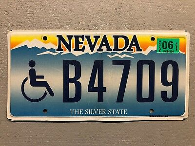 NEVADA LICENSE PLATE THE SILVER STATE B4709 Handicap
