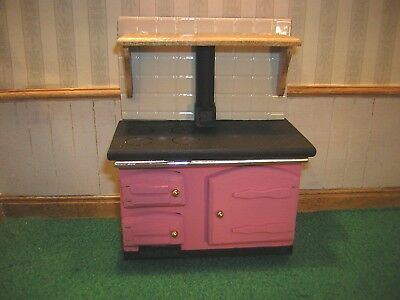 1/12th Dollshouse Miniature Painted wooden Range/ Aga /Rayburn Style cooker,Pink