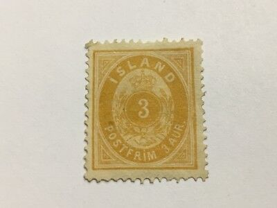 old stamp ICELAND 3a yellow 1876
