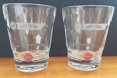 Set of 2 John Jameson & Son Irish Whiskey Glasses Red Label Rocks JJ&S Logo