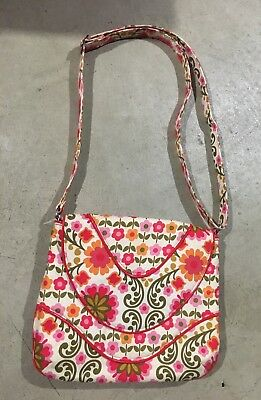 1fcd1cf419c7 VERA BRADLEY FOLKLORIC Orange   Pink Flowers Mini Small Handbag ...