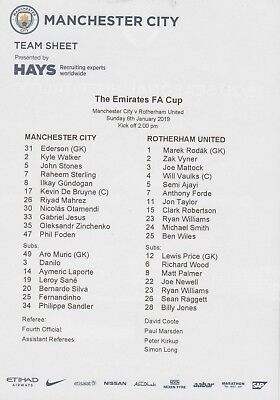 * OFFICIAL TEAMSHEET - MAN CITY v ROTHERHAM UNITED (FA CUP - 6th January 2019) *