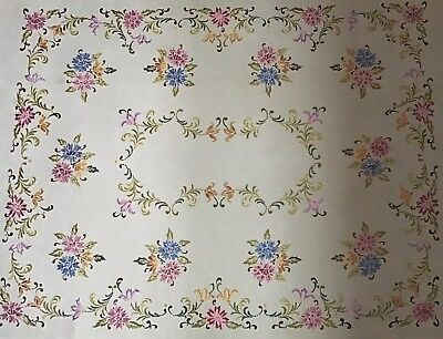 Stunning Large Vintage Linen Hand Embroidered Tablecloth ~ Wonderful Embroidery