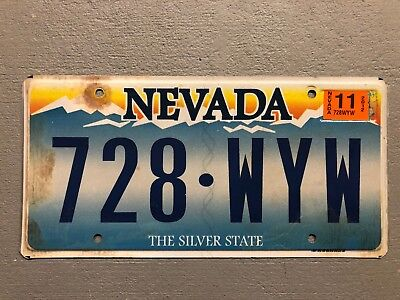 NEVADA LICENSE PLATE THE SILVER STATE 728-WYW 2011 Sticker