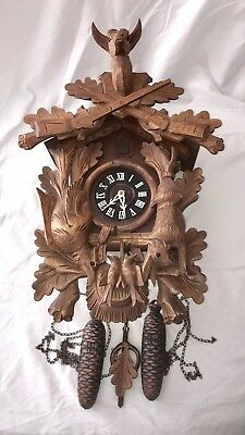 West Germany 8-Day Black Forest Cuckoo Clock Nice Clock Repair or Parts