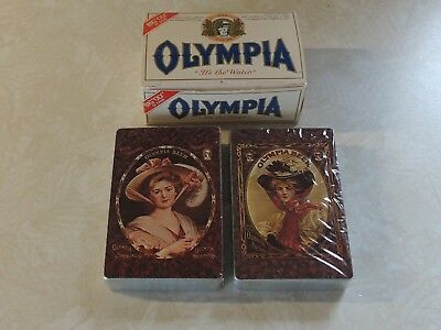 Qlympia Beer Playing Card Decks x2 sealed in Mini-Beer Case Box