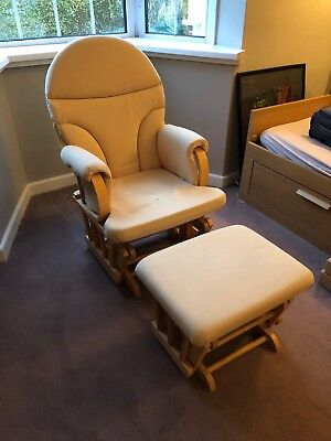 Reclining glider chair with stool (cream, used, excellent condition)