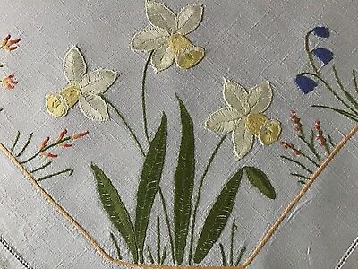 Gorgeous Large Vintage Linen Hand Embroidered Tablecloth ~ Spring Florals