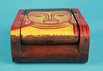 Vintage Chinese Wood Jewelry Box Painting Old Buddhist Spiritual Collection Gift