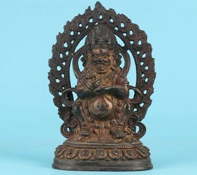 Old Bronze Spiritual Tibetan Buddhist Black God Wealth Sitting Buddha Statue