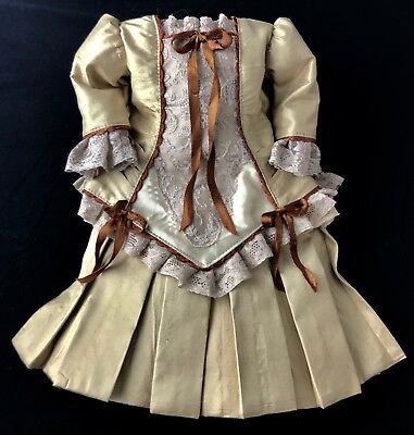 """Finest Doll Dress for app 19"""""""" Antique Doll Hand Pleated SILK"""
