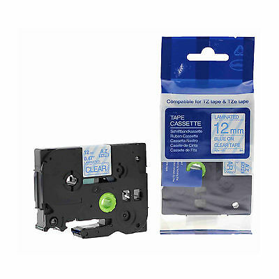 1PK Blue on Clear TZ-133 Tze133 12mm Label Tape Laminated for Brother P-touch