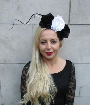 Black White Rose Flower Feather Fascinator Headpiece Headband Floral Races 6760