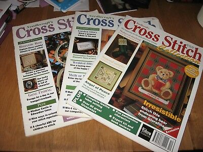 3 X Sewing Magazines - Cross Stitch Collection - Animals/floral/scenes/unicorn