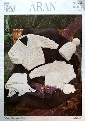 Knitting pattern King Cole 2373 aran childrens sweaters / mittens / hat / scarf