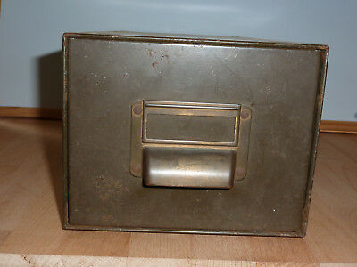 Vintage Industrial Metal  Card Index Filing Box  Art Deco style label