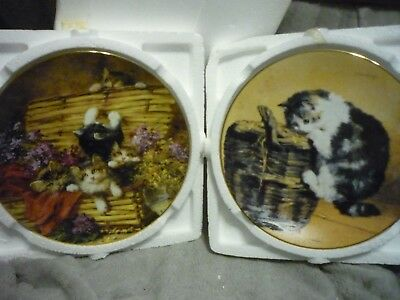 Bradex 8 Inch Cat Plates, Set of 2, Victorian Cat Capers