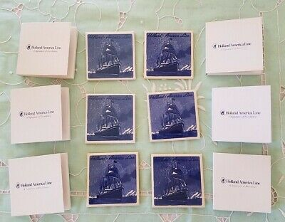Holland America Line Ceramic Tile Coasters Set Cruise Ship Netherlands