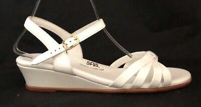 "be20e5f2fca1a SAS Women s White ""Strippy"" Open Toe Ankle Strap Sandals Size 10.5M"