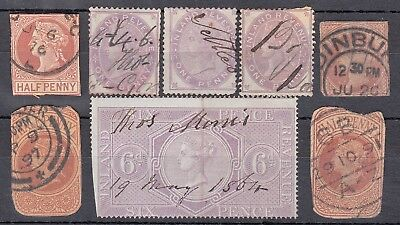 QV GB Inland Revenue 6d Lilac Postal Stationery some CDS / Duplex cancels ½d 1d