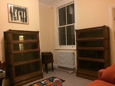 Two Barristers Glass Fronted Stacking Bookcases Globe Wernicke style Oak 1900-20