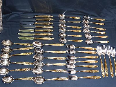 ART DECO CUTLERY SOLID SILVER 800 AND GOLD PLATED Manufacturer SGS Germany 1930