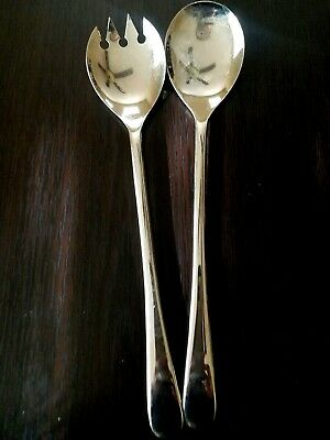 """Vintage Heavy Italy Silver Plate OLD ENGLISH Salad Spoon Fork Service Set 9 1/4"""""""