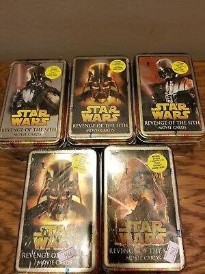 5 -Star Wars Revenge of The Sith Movie Card Tins *Still Sealed*