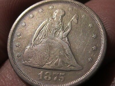 1875-S Twenty Cent Piece (20 cents)  VF+  Silver Type Coin