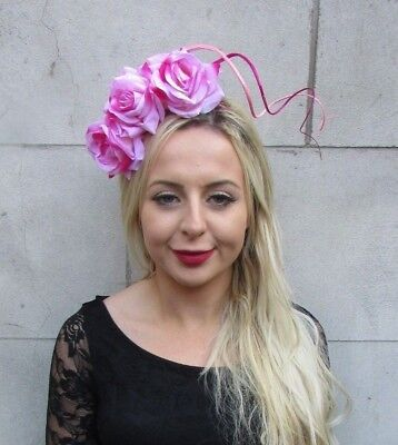 Hot Light Pink Rose Flower Feather Fascinator Headband Headpiece Floral 6770