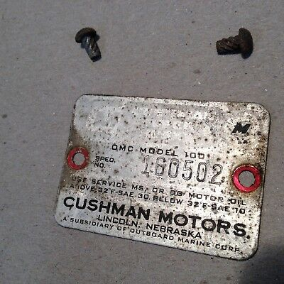 vintage cushman model 100 eagle scooter data plate serial number tag w/screws