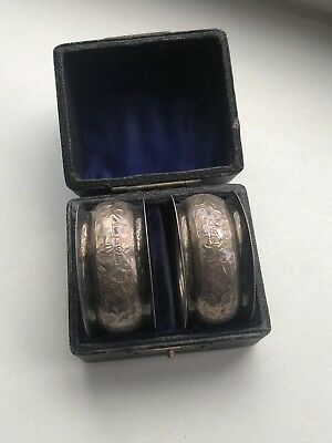 Cased Pair Of Antique Solid Silver Napkin Rings