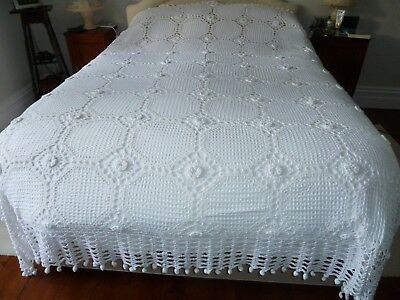 Vintage very large hand-crocheted white cotton bedspread. Just beautiful. VGC.