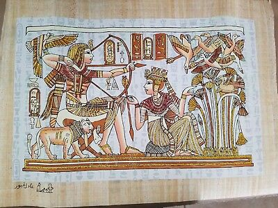 """Egyptian Hand-painted Papyrus Artwork: King Tut & Wife Hunting Birds 16"""" x 12"""""""