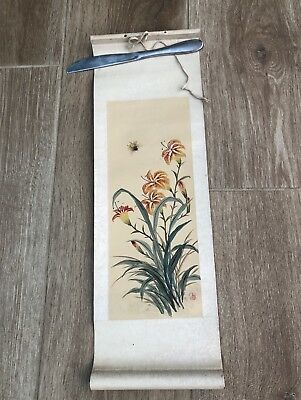 Small Original Chinese Scroll - Flowers And Bee