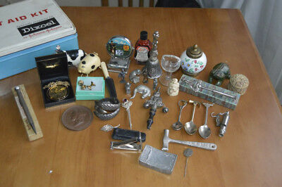 Vintage Antique Collectables Job Lot Includes Snuff Box, WW1 Silver Stick Pin