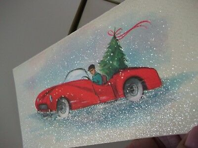 Vintage Gibson Christmas Cards Glitter Man in Car with Xmas Tree~Lot of 4~Unused