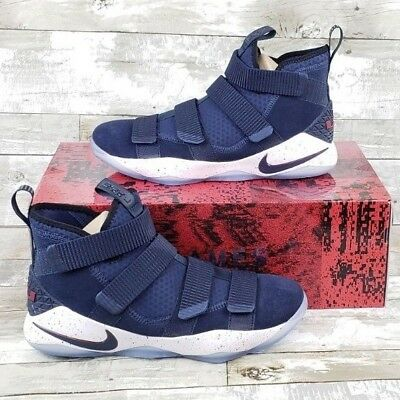 b8af42314fd3 Nike Lebron Soldier XI White College Navy Blue Basketball 897644-401 Mens  Sizes