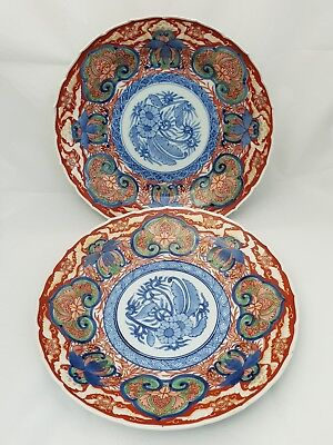 """Pair Of Antique Chinese 10"""" Blue & White Red Gold Gilt Plates SIGNED Imari"""