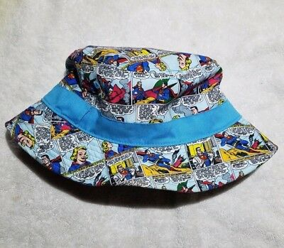 NEW DC COMICS Superman and Supergirl Comic Print All Over Bucket Hat ... 8bf8b088682f
