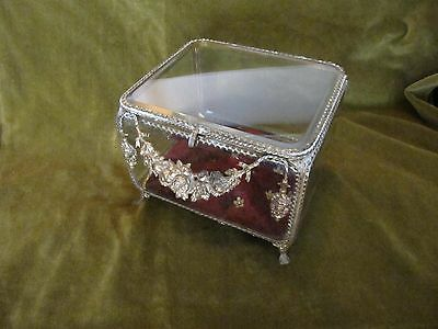 Antique French Napoleon III empire gilt large jewelry box bevelled glass 1860s