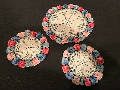 3 Vintage Pansy Doilies Pink Blue