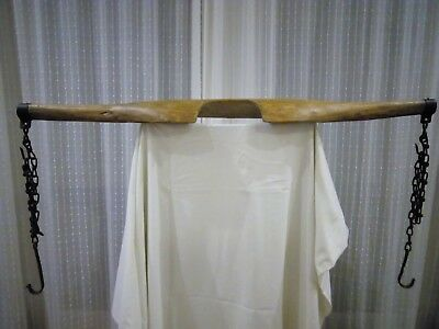 Vintage/antique carved wooden milkmaid's yoke with rustic chains and hooks