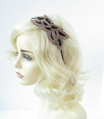 Black and Gold Beaded Leaf Fascinator Headband 1920s Great Gatsby Flapper 6779