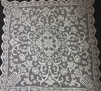 """GORGEOUS LARGE ANTIQUE HAND-MADE FILET LACE TABLECLOTH ~ 53""""x53"""""""