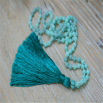 6MM 108 Knot Amazonite Necklace Veins natural energy chain Buddhism mala Hot