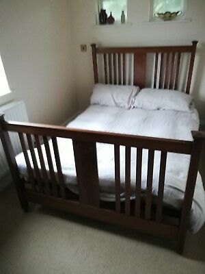 Antique Edwardian double satinwood dark wood frame bed with inlay