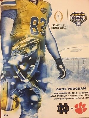 2018 2019 Cotton Bowl Playoff Game Program Official Clemson Tigers  Notre Dame