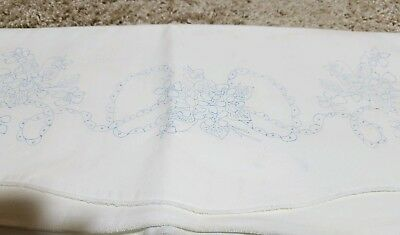 Vintage Stamped To Embroider Pillowcases Flowers  Nice