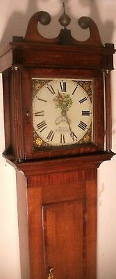 "Antique Slim  Oak Case  "" Osbaldeston  ""  Longcase / Grandfather  Clock"